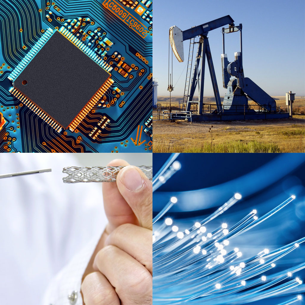 Photo collage of a circuit board, oil rig, stent valve, and