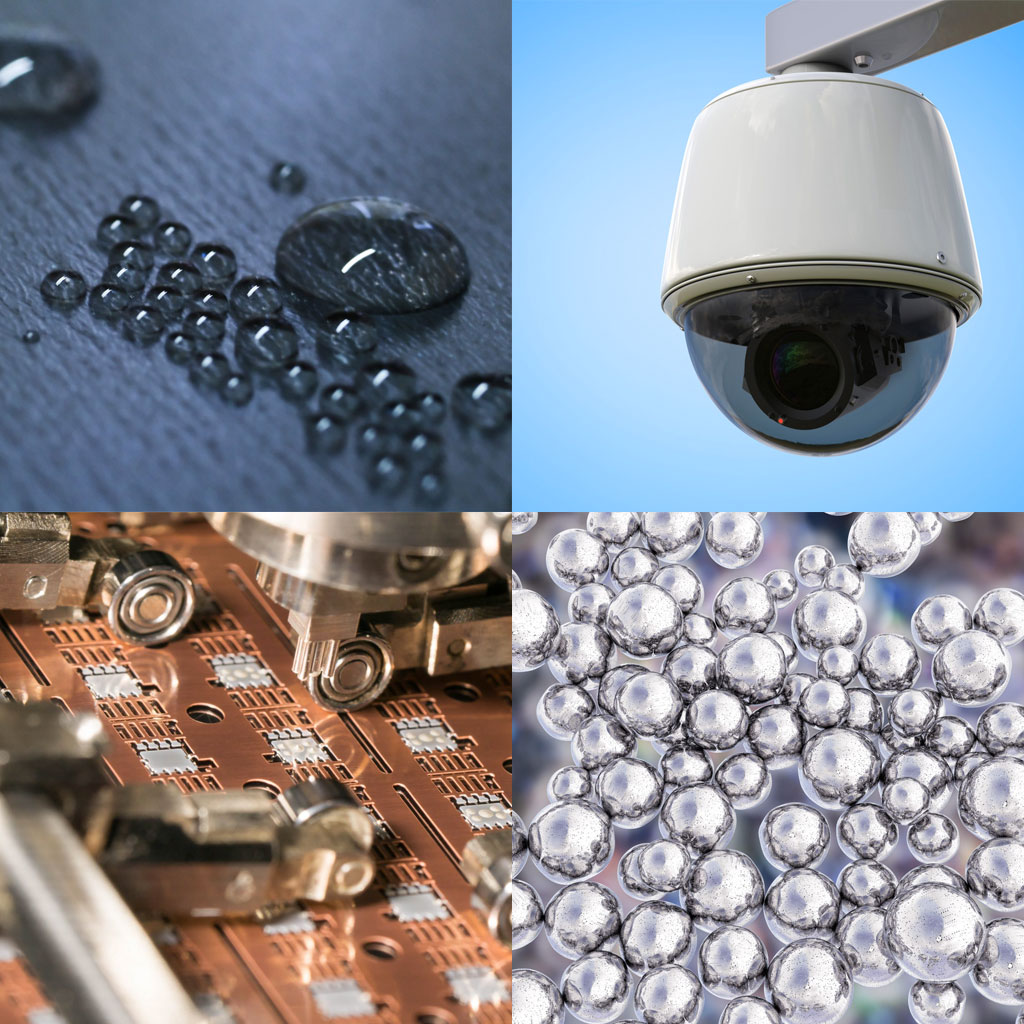Photo collage of various surface technology applications