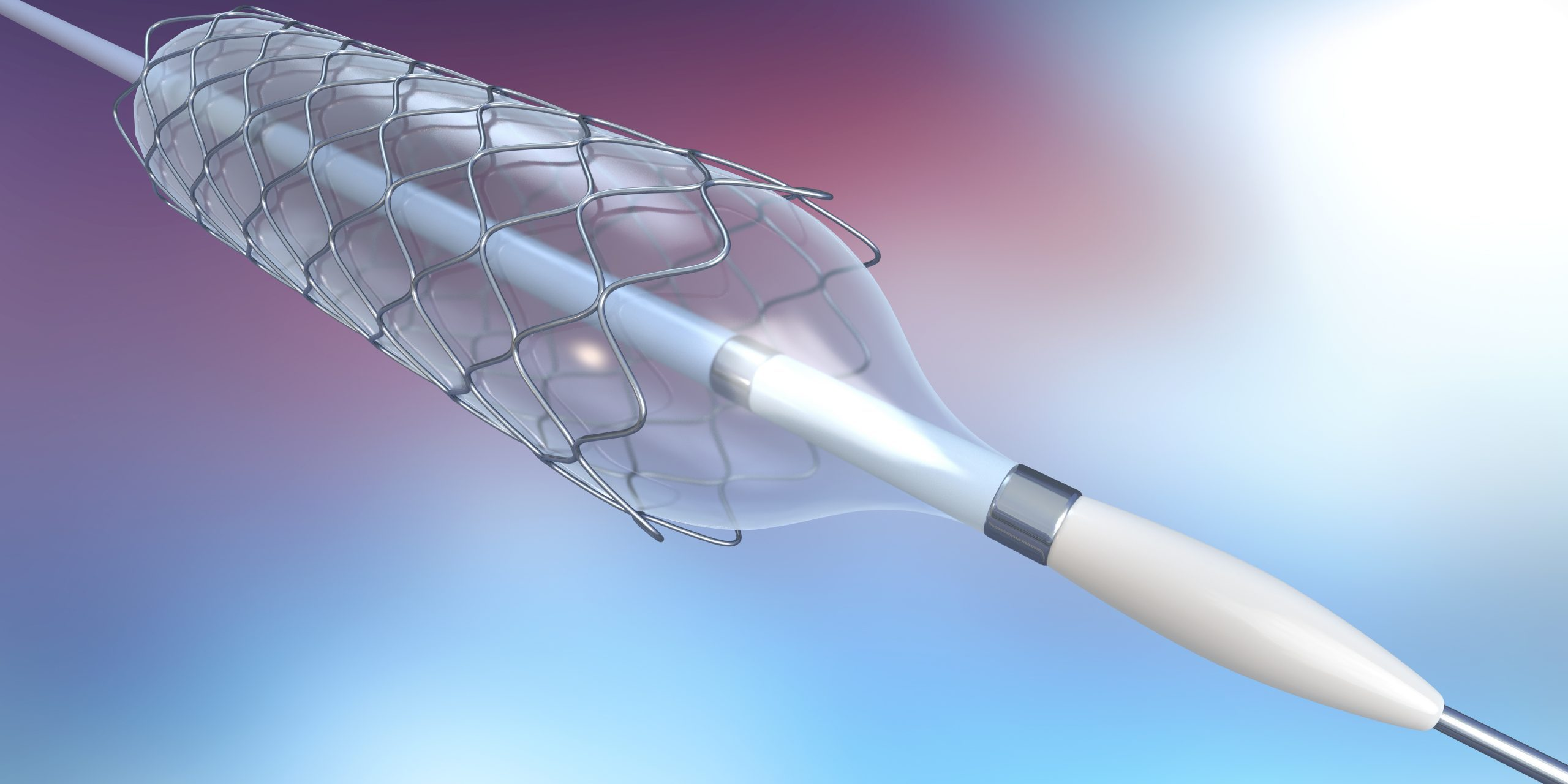 3d illustration of catheter for stent implantation for supporting blood circulation into blood vessels