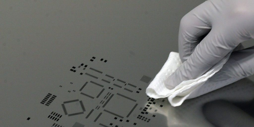 NanoClear being applied to a stencil